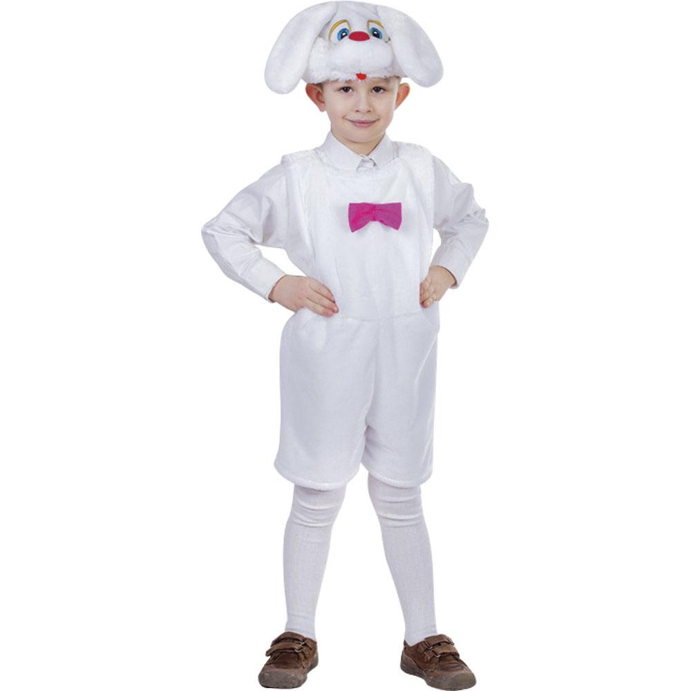 """Костюм карнавальный 4-7лет, маска, комбинезон, искусственный мех облегченный, """"Зайчик белый"""""""
