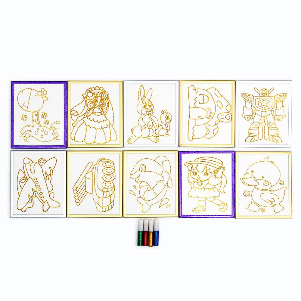 Раскраска блестками, бумага, пластик, блестки 4цв., 15х18см, 10 дизайнов