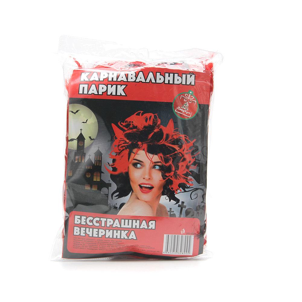 Парик маскарадный с рожками, пластик, 120  гр, СНОУ БУМ