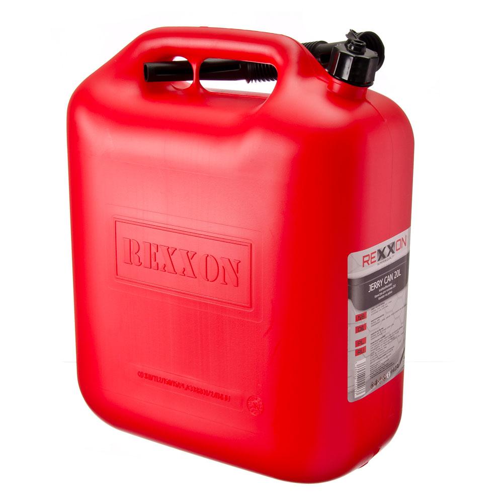 Канистра rexxon для топлива 20л, пластиковая с гибким шлангом и крышкой