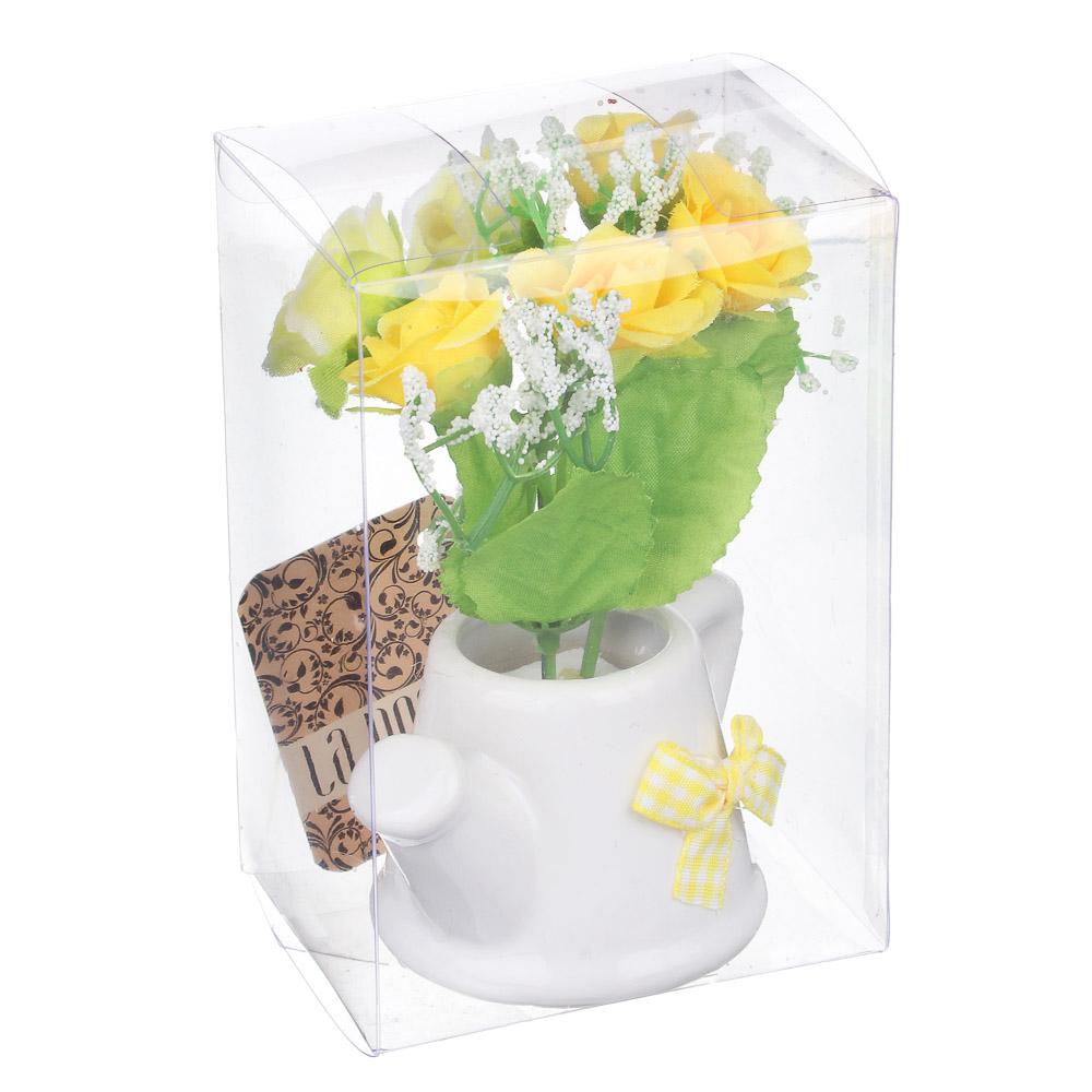Цветы в горшке, керамика, пластик, 8х6,2х12см