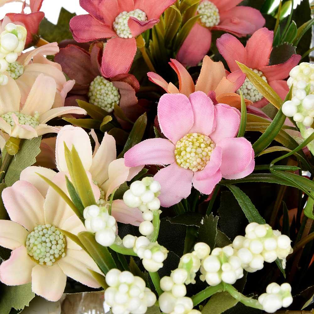 Цветы в горшке, керамика, пластик, 18х8,5х8,5см, 3 цвета, арт.12-06