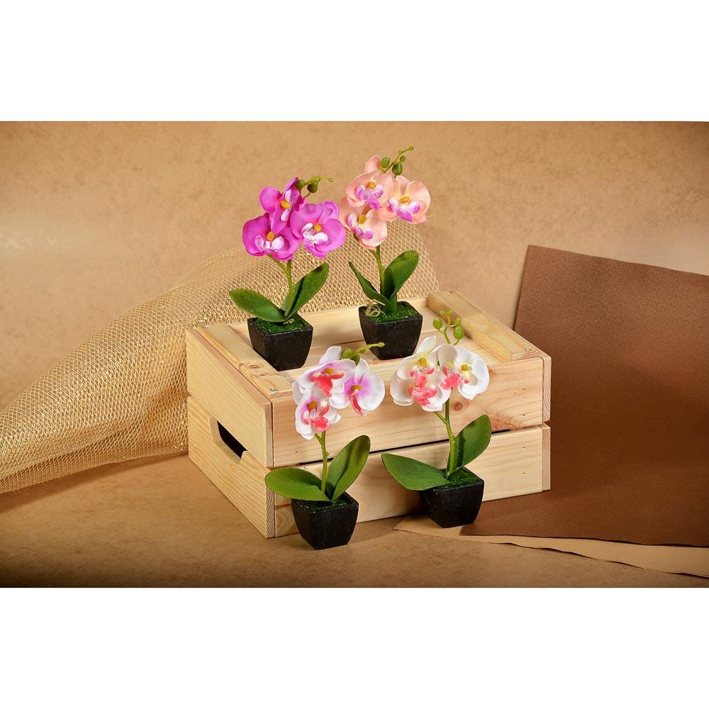 "Цветы в горшке ""В виде Орхидеи"", керамика, пластик, 21х8,5х5,5см, 4 цвета, арт.12-07"