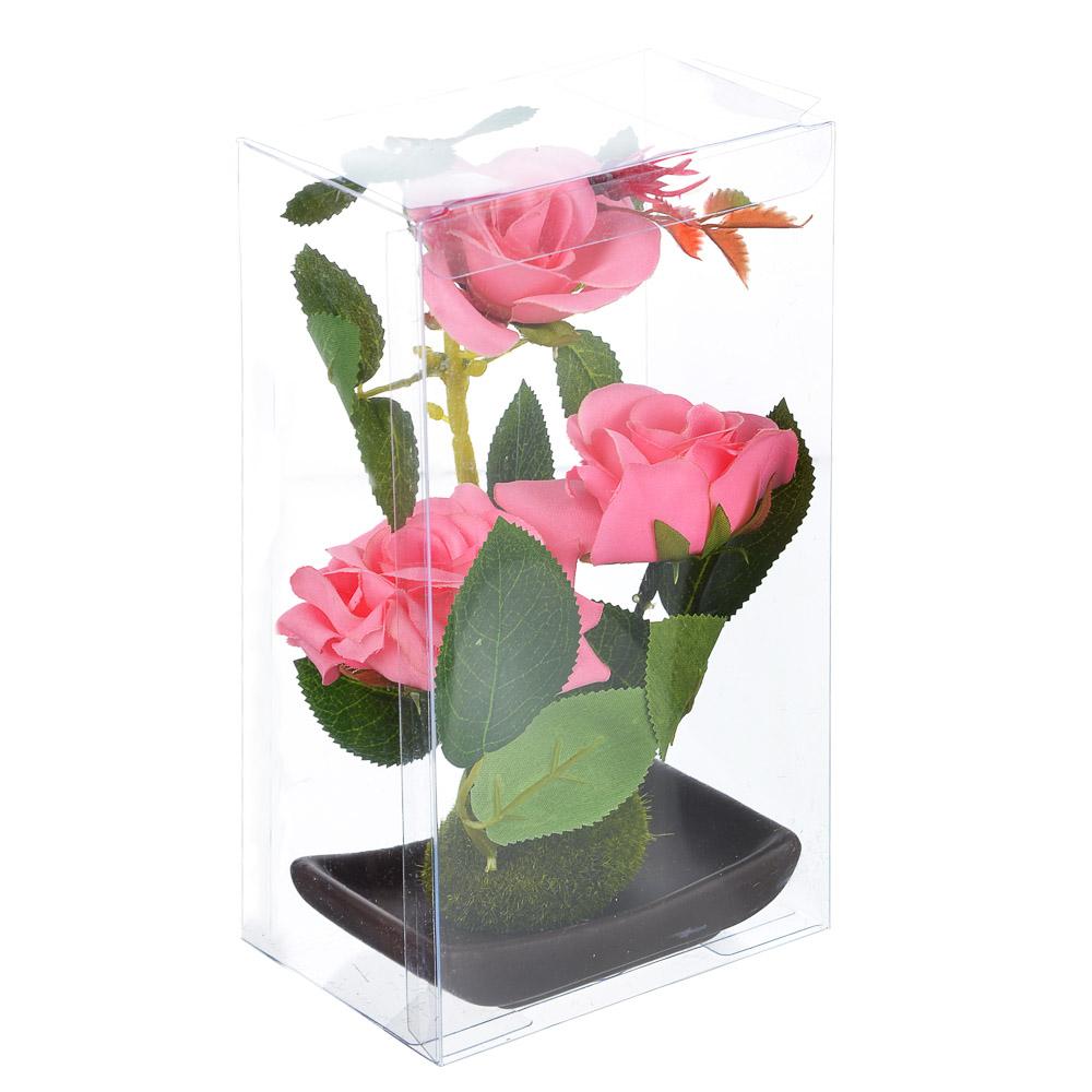 """Цветы в горшке """"В виде Розы"""", керамика, пластик, 17х9,5х6см, 2 цвета, арт.12-08"""
