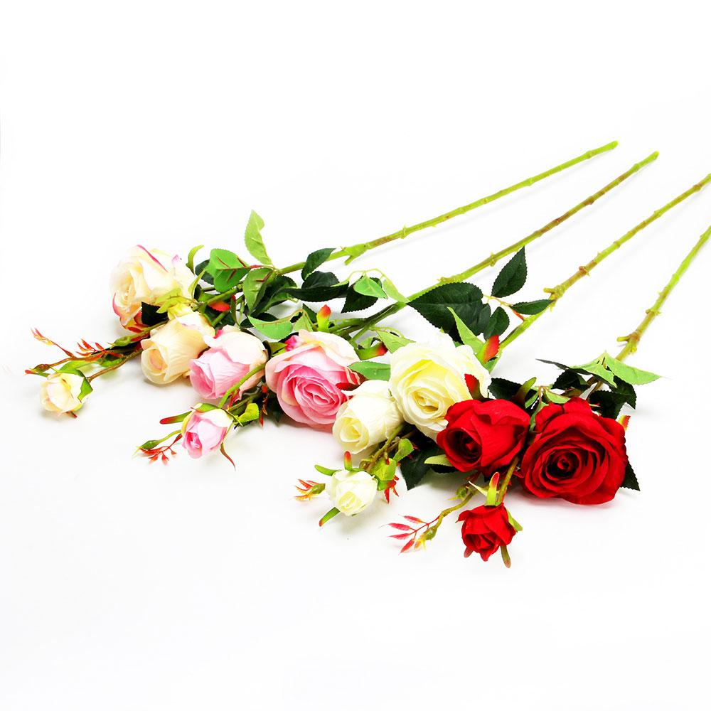 """Цветок искусственный """"В виде Розы"""", пластик, 80см, 4 цвета, арт.12-10"""