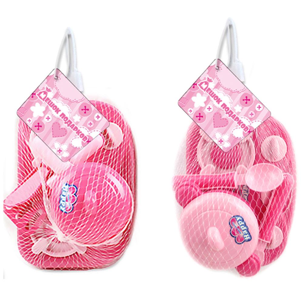 """МЕШОК ПОДАРКОВ Набор детской посуды с плитой """"Розовый"""", пластик, 20х12х10см, 2 дизайна, 100991475"""