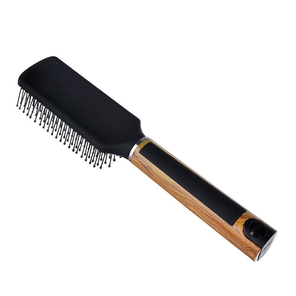 Расческа массажная с деревянной ручкой, пластик, дерево, 23x5x3 см, 1 цвет