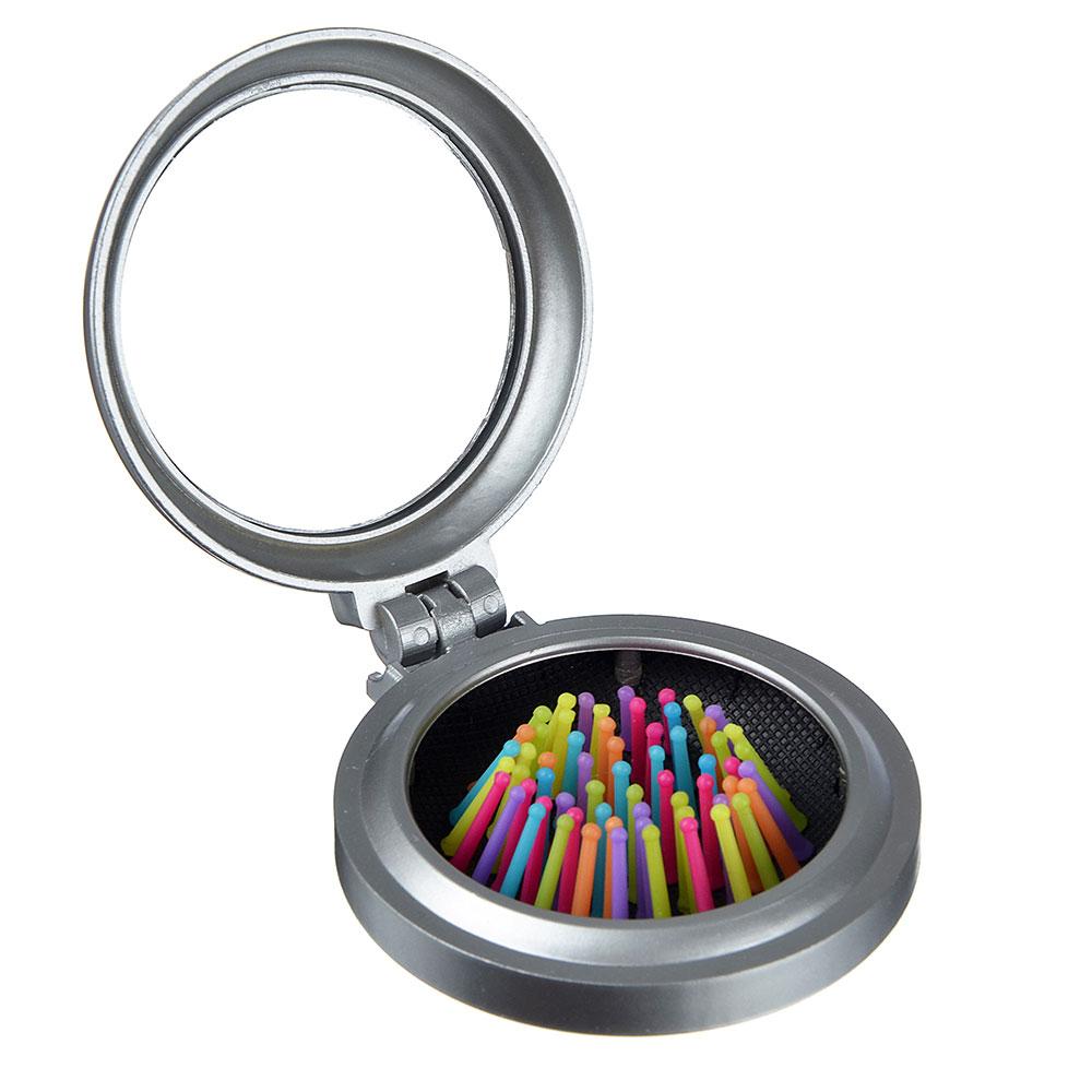 Расческа складная с зеркалом и цветными зубчиками, пластик, стекло, d6,5 см, 1 цвет