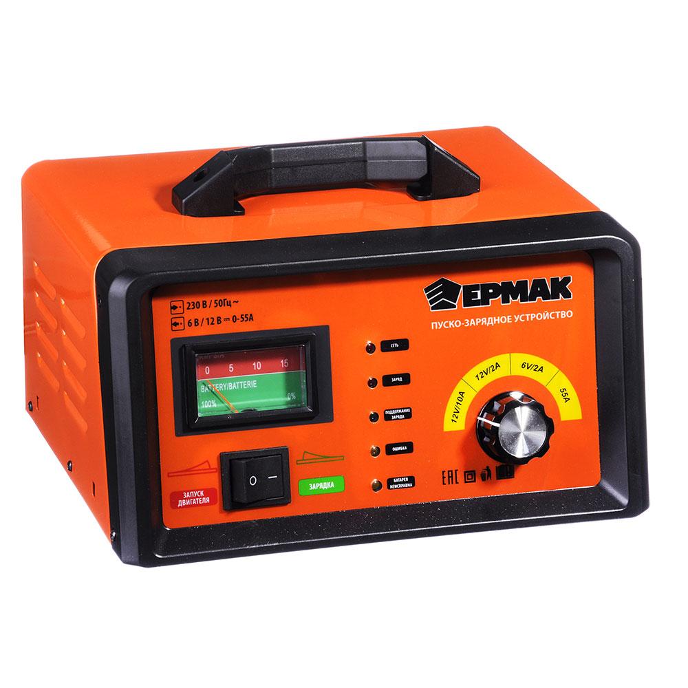 """Пуско-зарядное устройство автомат с функцией """"быстрый старт"""", 2/10/55A, 6/12В, металл, ЕРМАК"""