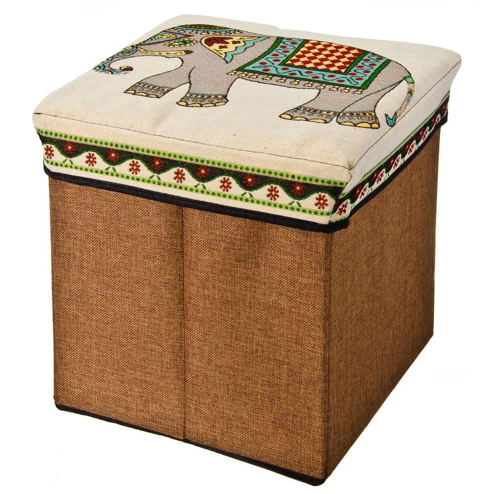"""Пуфик складной, текстиль, 31х31х31см, до 40 кг, 2 дизайна, """"Слоны"""""""