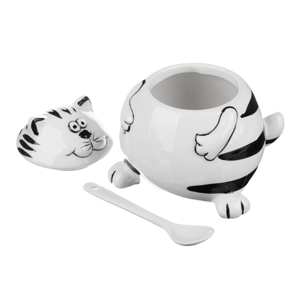 MILLIMI Милый котик Сахарница с ложкой, 200мл, керамика