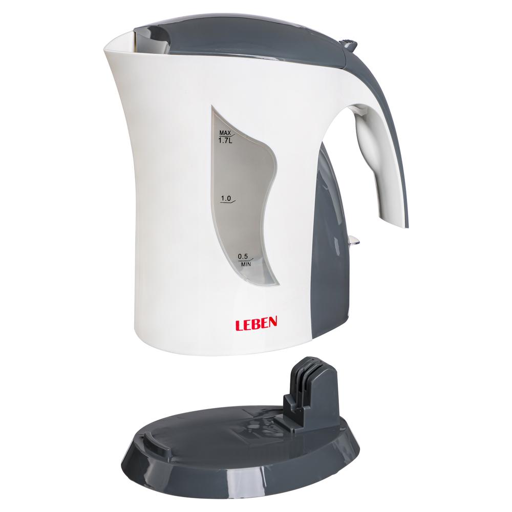Чайник электрический 1,7 л LEBEN, 1850 Вт, пластик, белый/серый