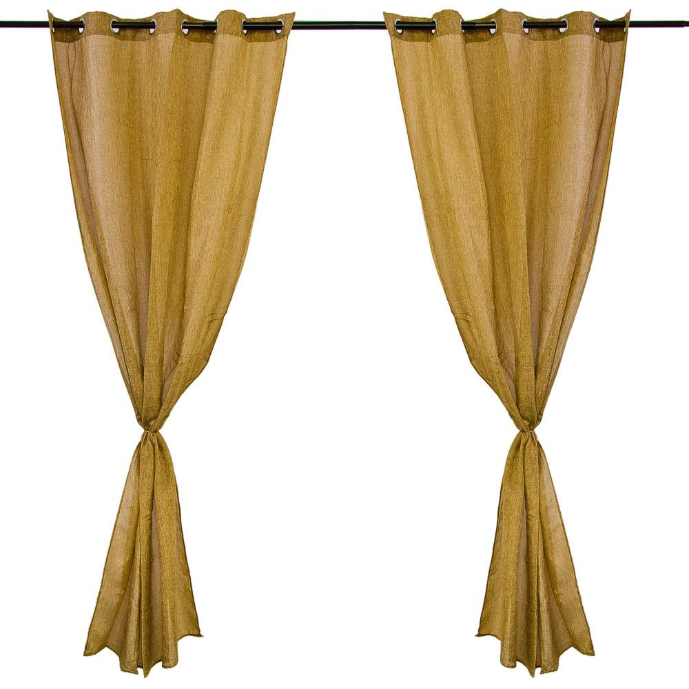 Комплект штор 2 шт, на люверсах, полулен, по 1,4x2,6м, коричневый