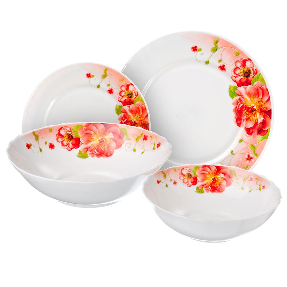 Лорина Набор столовой посуды, опаловое стекло, 19 пр., H19D