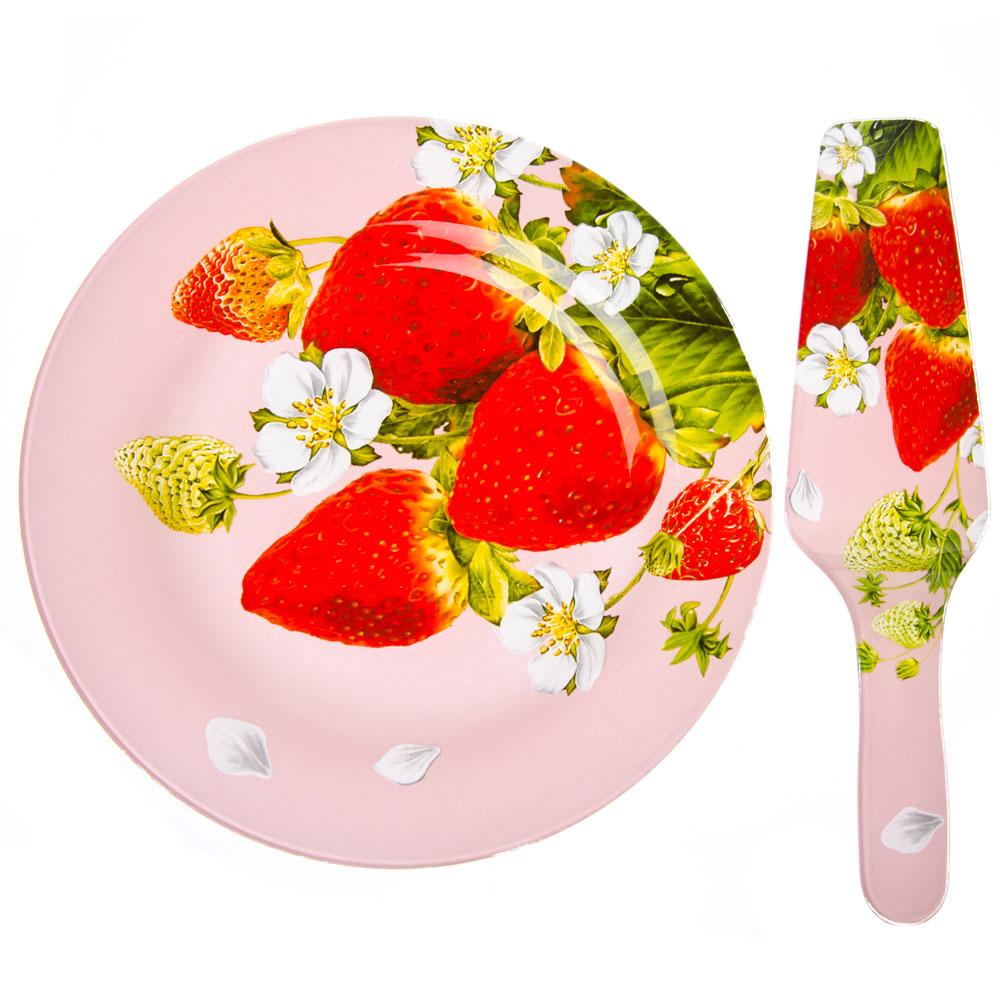 VETTA Земляничная поляна Набор для торта 2 пр, стекло, 25,4см, S3000/2 PDQ-R051