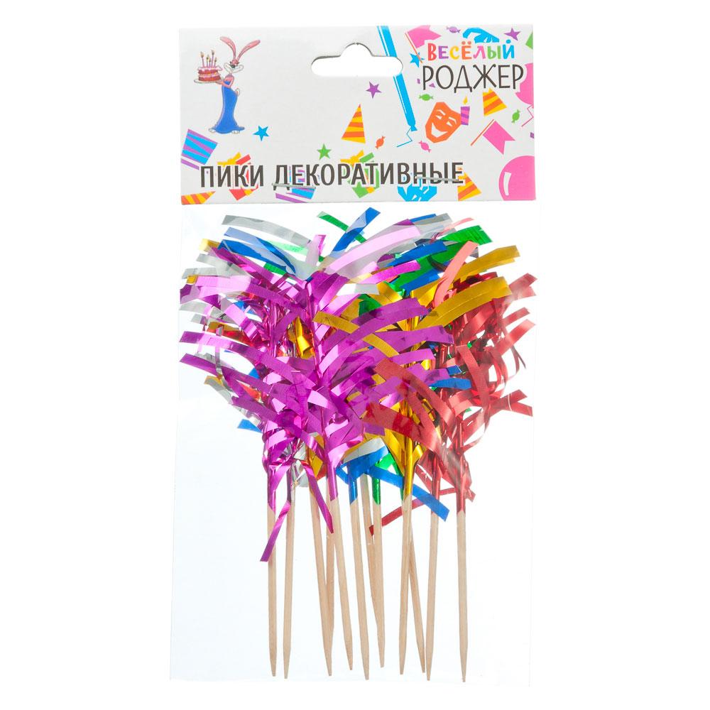 Набор шпажек праздничных с мишурой 12шт, дерево, 10см