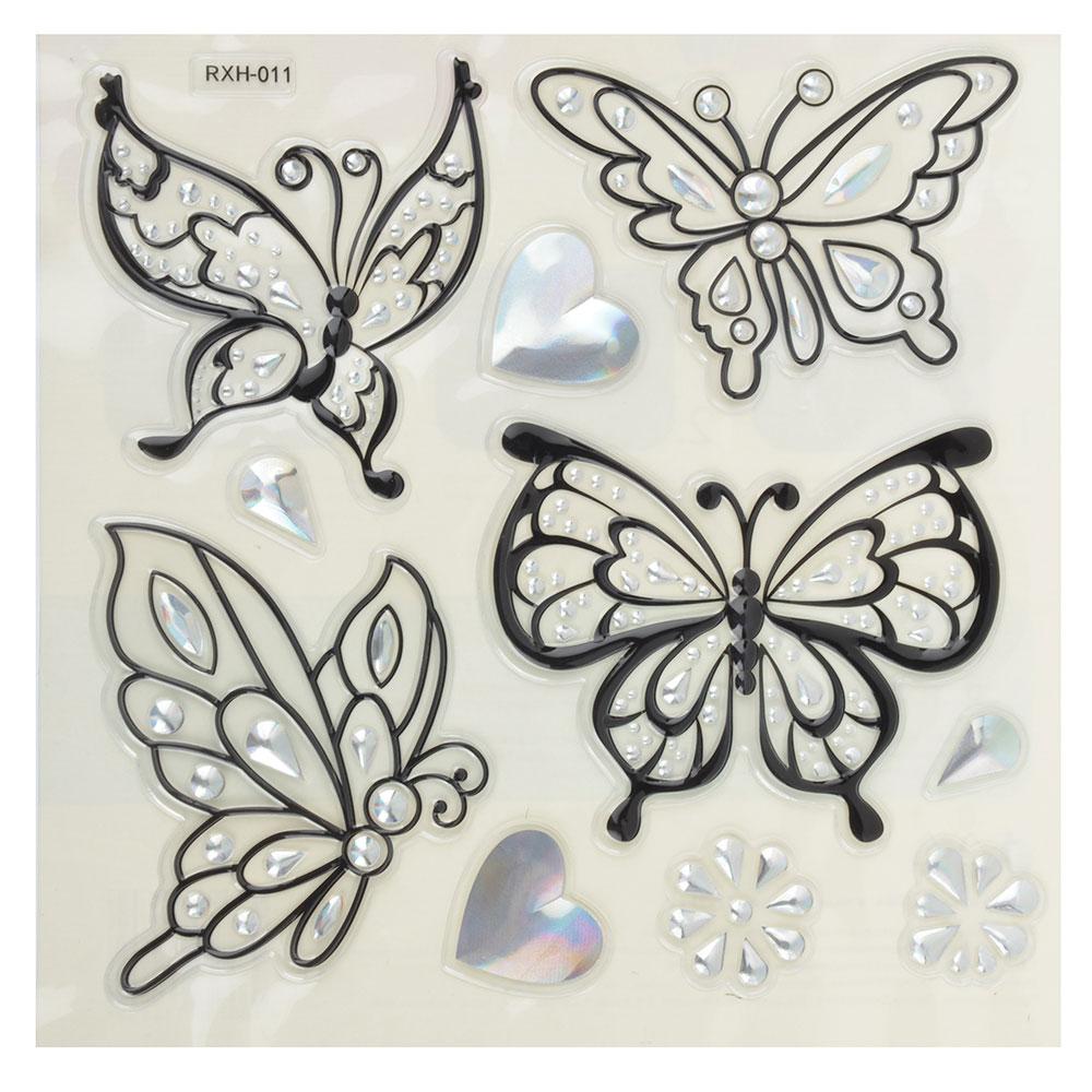 Набор наклеек, ПВХ, в виде бабочек, 27х21см