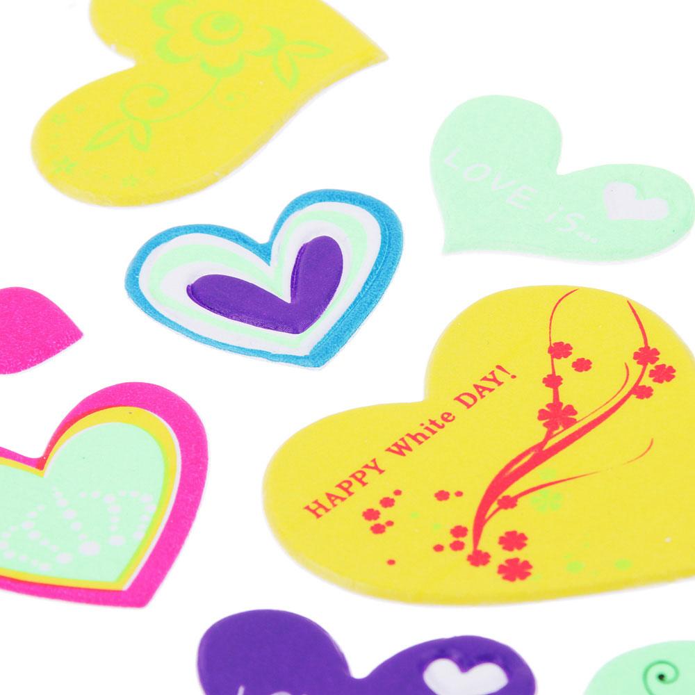 Набор наклеек, ПВХ, в виде сердец и цветов, 27,5х10,5см, 3-5 дизайнов