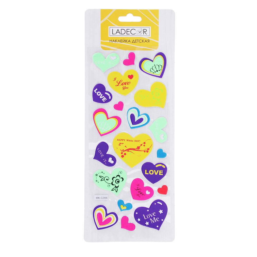 LADECOR Набор наклеек, ПВХ, в виде сердец и цветов, 27,5х10,5см, 3-5 дизайнов