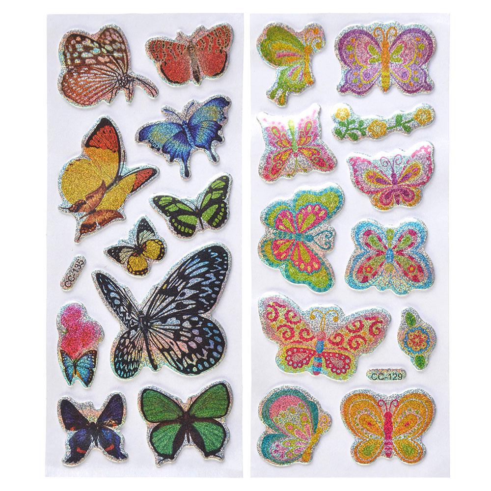 Набор наклеек, ПВХ, в виде бабочек, 18,5х7см, 2 дизайна