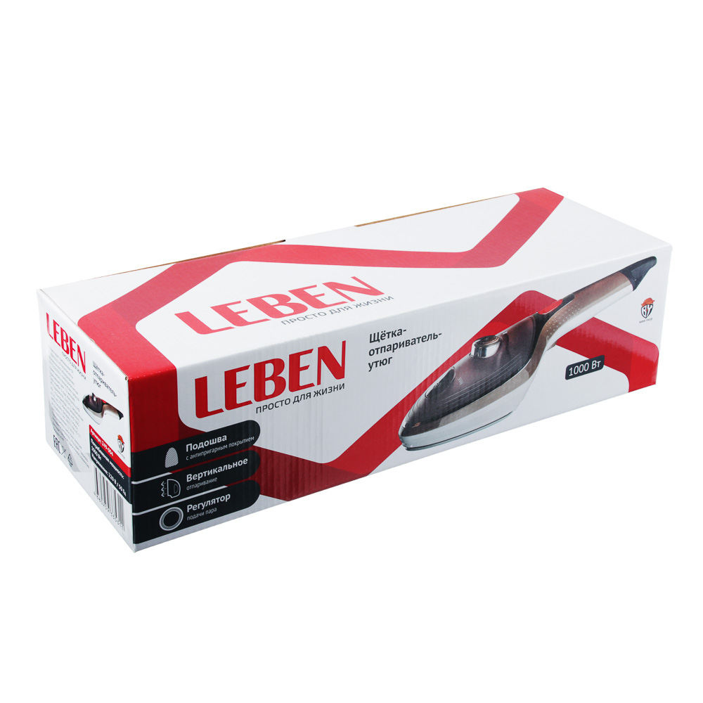 Щётка-отпариватель-утюг LEBEN 1000 Вт, тефлоновое покрытие, терморегулятор
