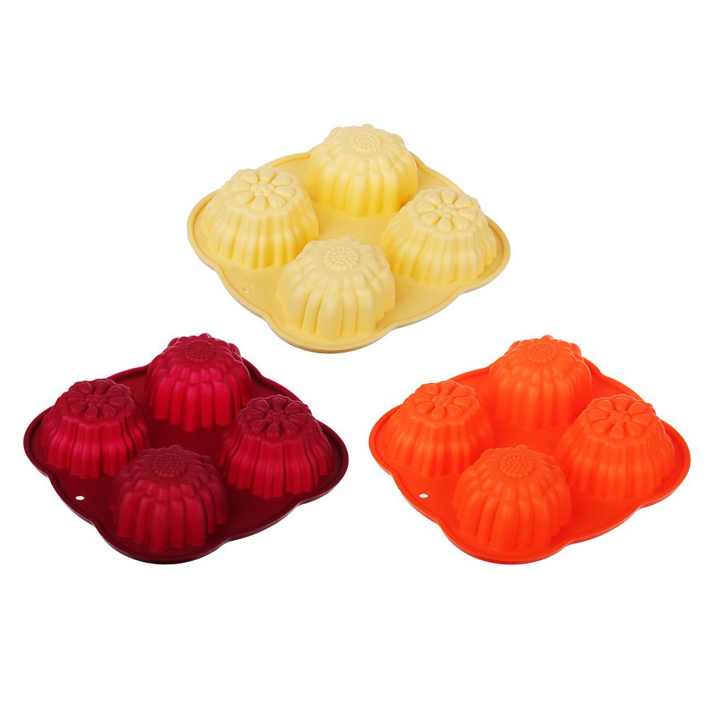 Форма для выпечки силиконовая, 4 ячейки, 15х15х3 см