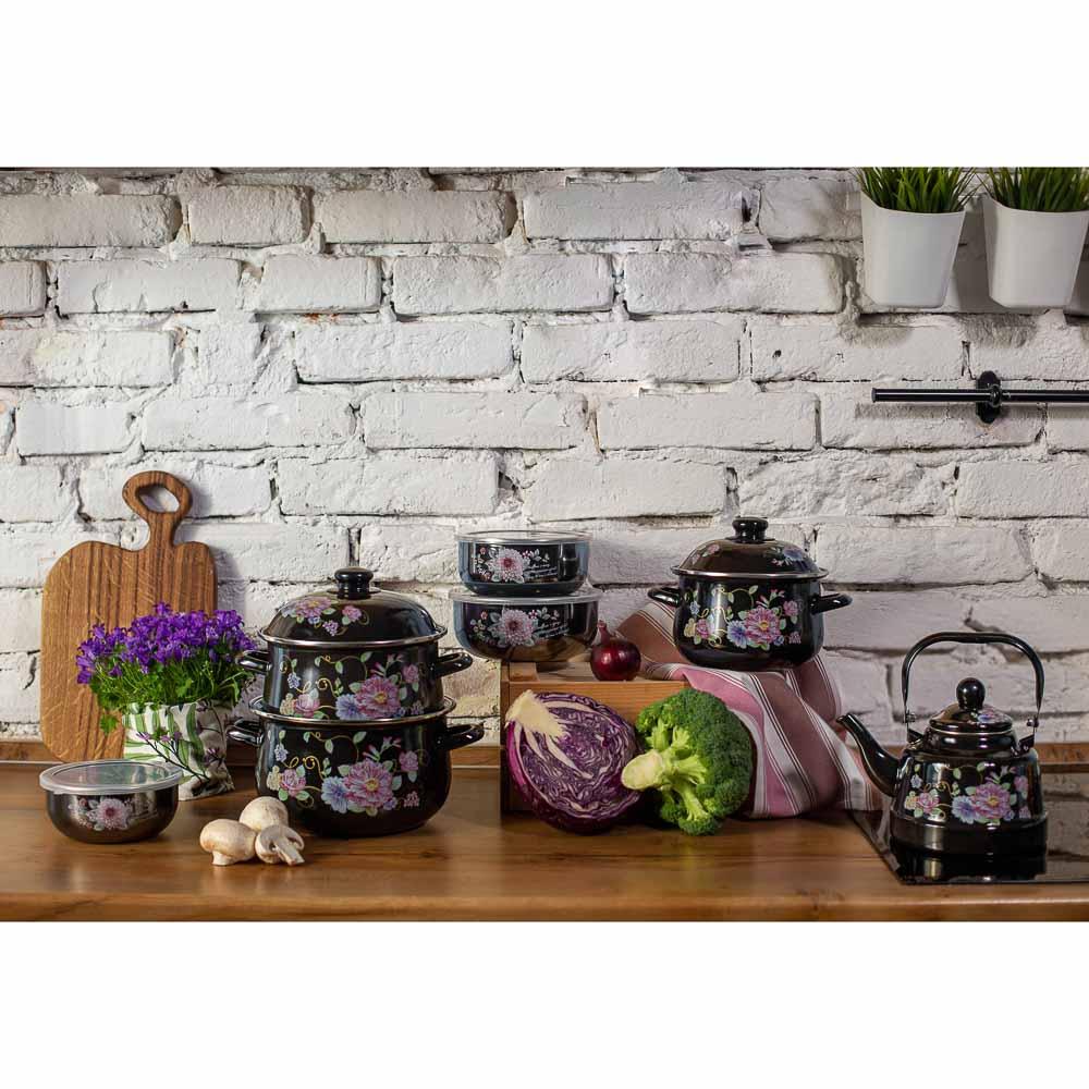 Набор салатников с крышками Иллюзия Георгина, 6 пр, эмаль, черный перламутр