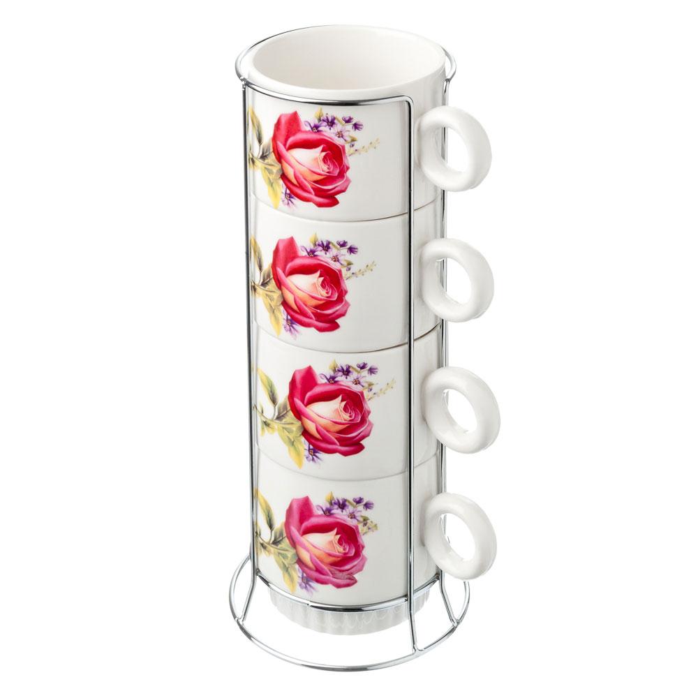 Набор чайный 4 пр., 300мл, на металл.подставке, керамика, 4 цвета, арт. NP-2005.11