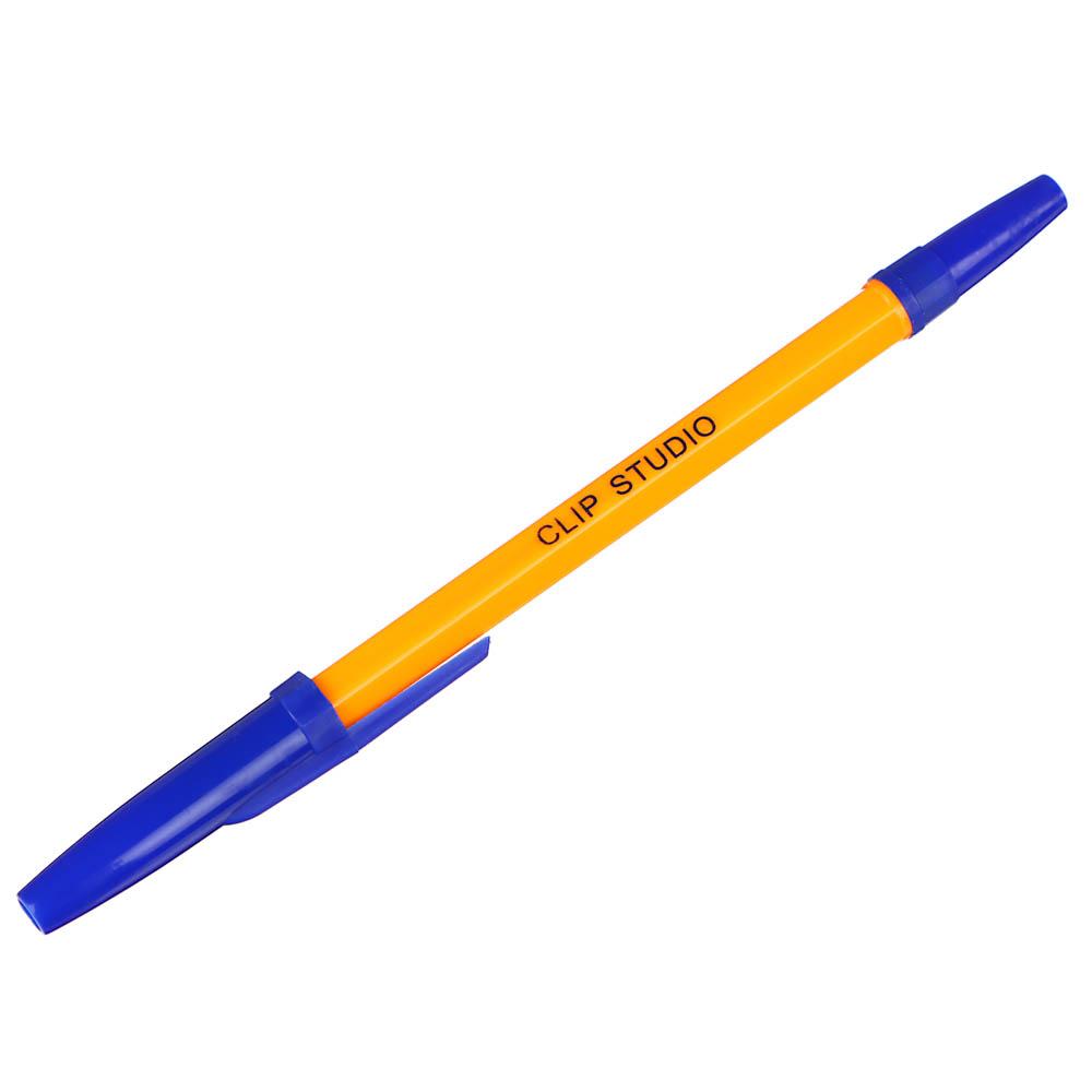 Ручка шариковая ClipStudio 0,7 мм, синяя, жёлтый корпус
