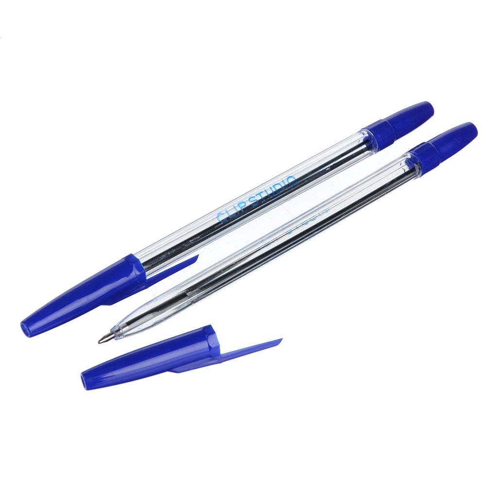 Ручка шариковая ClipStudio 0,7 мм, синяя, прозрачный корпус