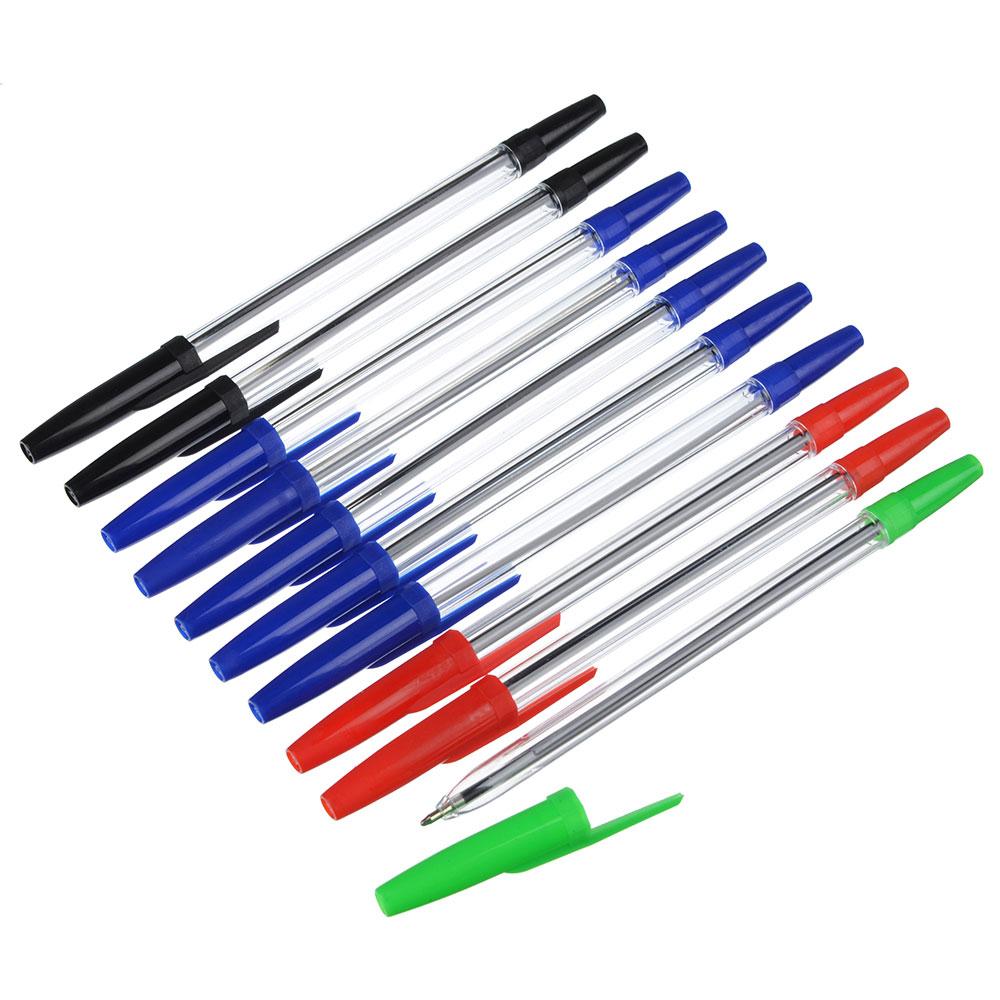 Набор шариковых ручек 10 шт (1 зеленая, 2 красные, 2 черные, 5 синих), 15,5 см