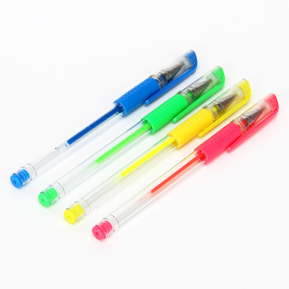 Набор цветных гелевых ручек, 4 шт., пластик
