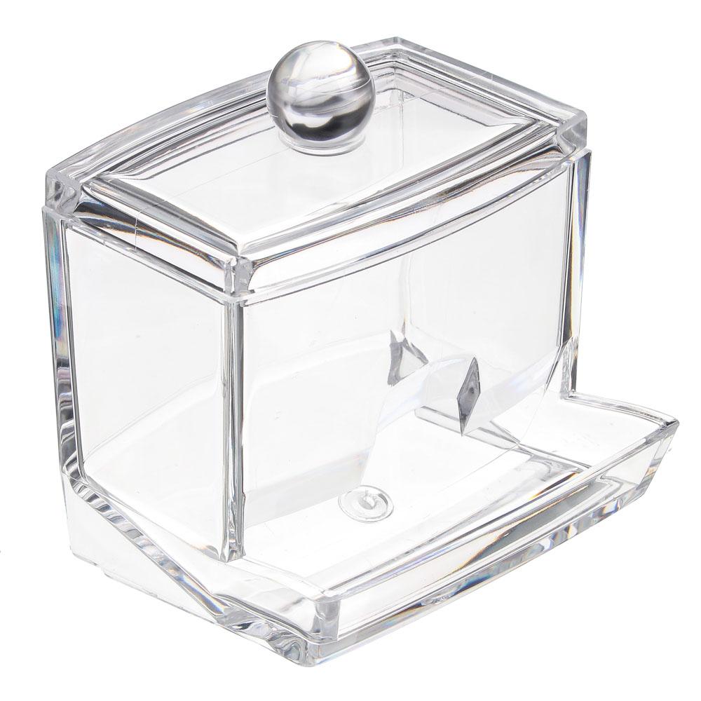 Органайзер для косметики с крышкой, полистирол, пластик, прозрачный, 9х7х9см