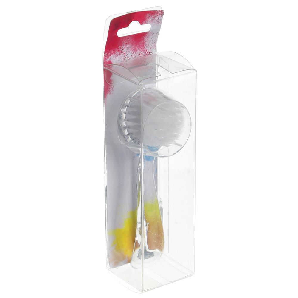 Кисть для умывания, пластик, синтетич. нейлон, 12,5см, 2-4 цвета