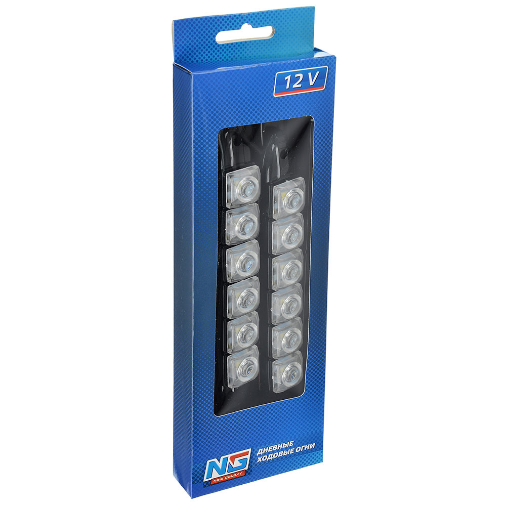 Дневные ходовые огни NEW GALAXY, LED 6шт, гибкий пласт. корп., 175мм, 12V, белый, 2шт.