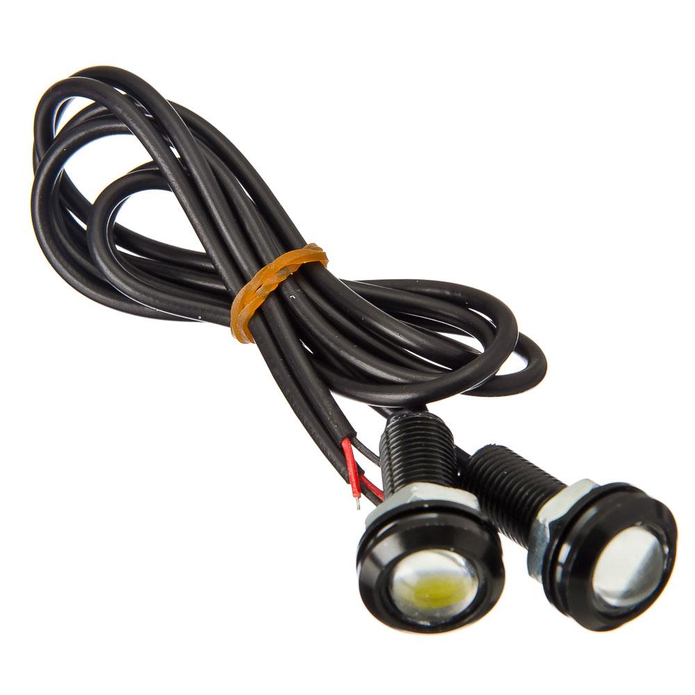NEW GALAXY Дневные ходовые огни, LED, алюм. корп.,диам.18мм , 12V, белый, 2шт.