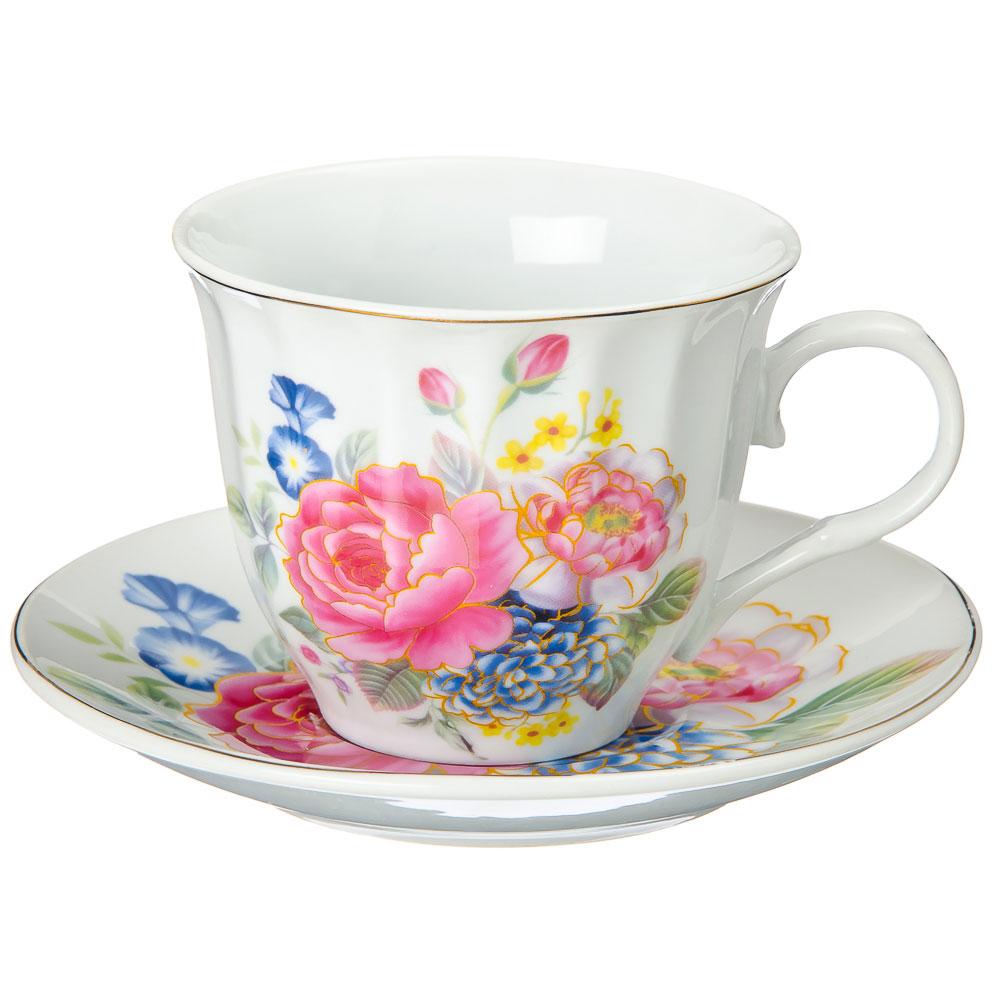 Английский сад Набор чайный 13 пр. с чайником на металлической подставке, 220мл, фарфор