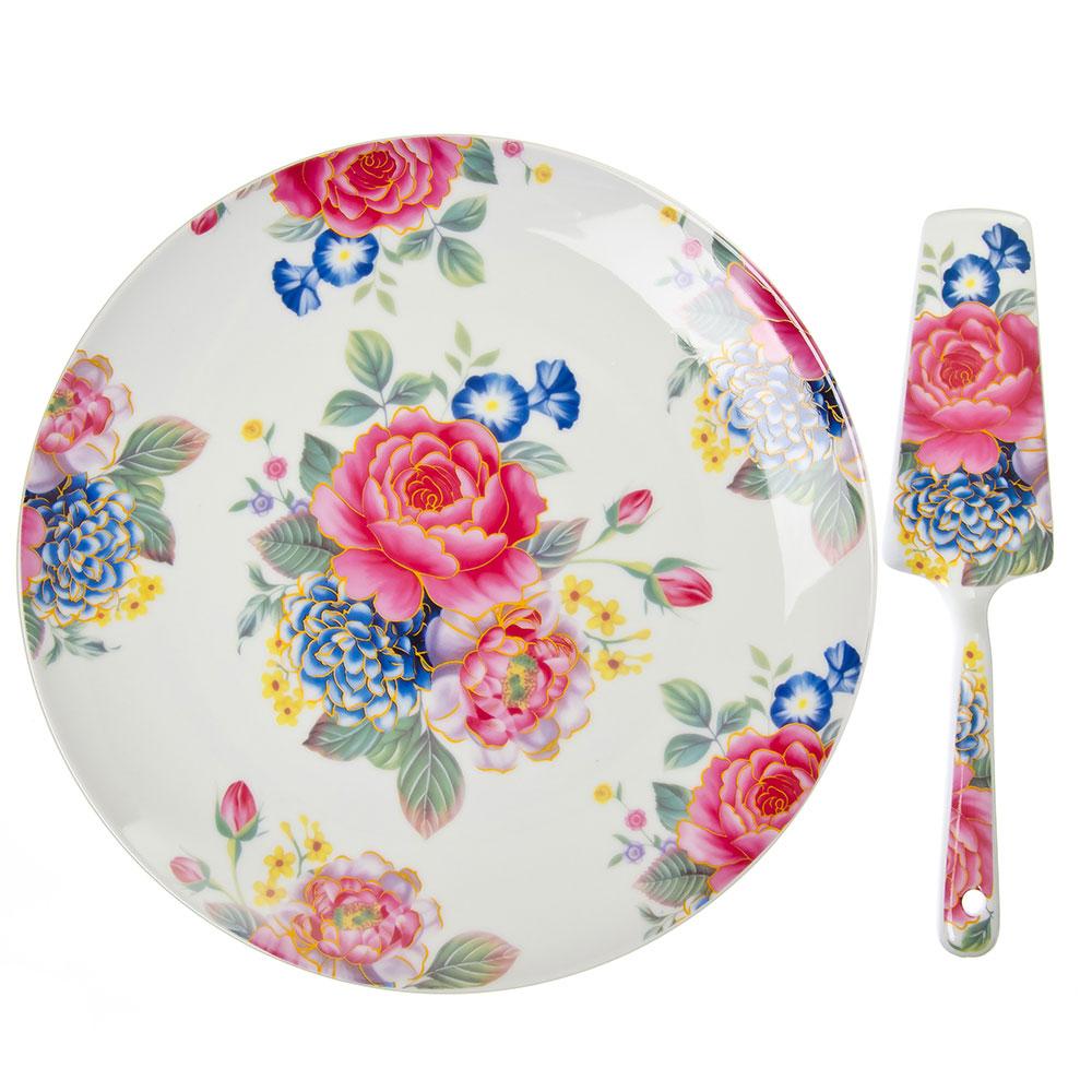 Английский сад Блюдо для торта 26,5см с лопаткой, фарфор