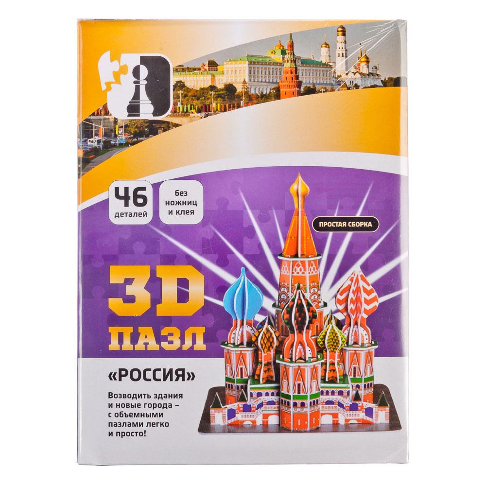 """Игра 3D пазл, бумага, 28,5х21х2см, 46 деталей, """"Россия"""""""