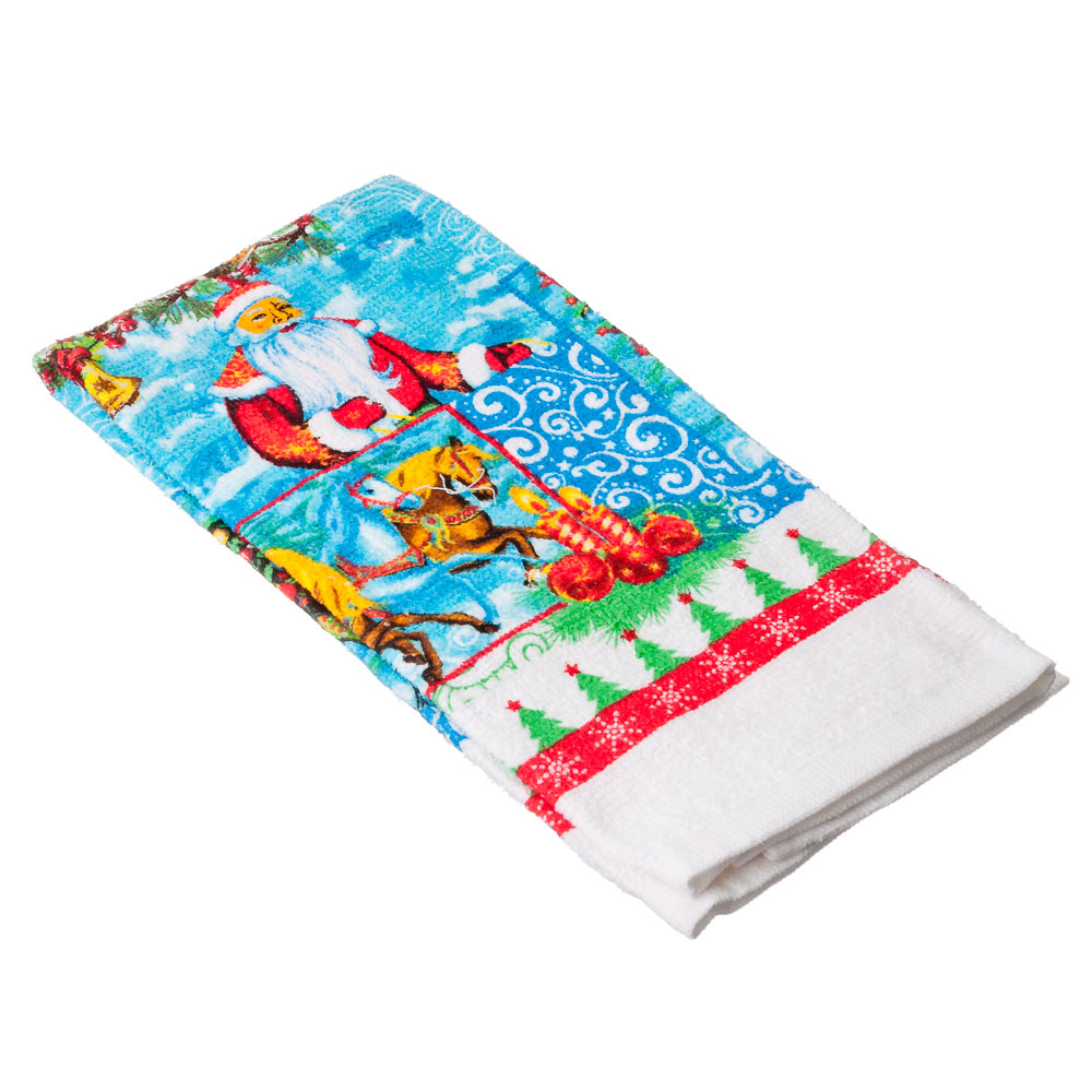 VETTA Дед Мороз Полотенце, хлопок, 38х63см, дизайн GC