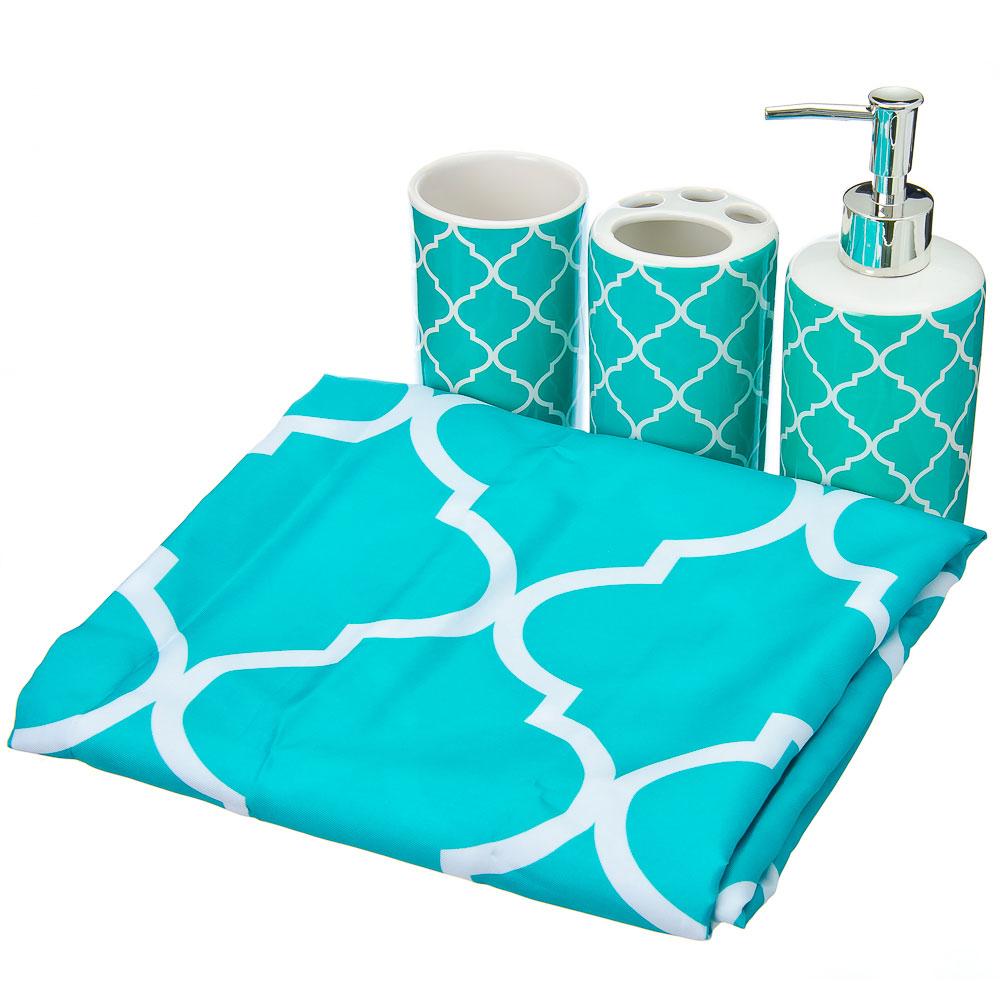 Набор для ванной: шторка ПЕВА 180х180см, 12 колец, 3 керамических предмета, бирюза