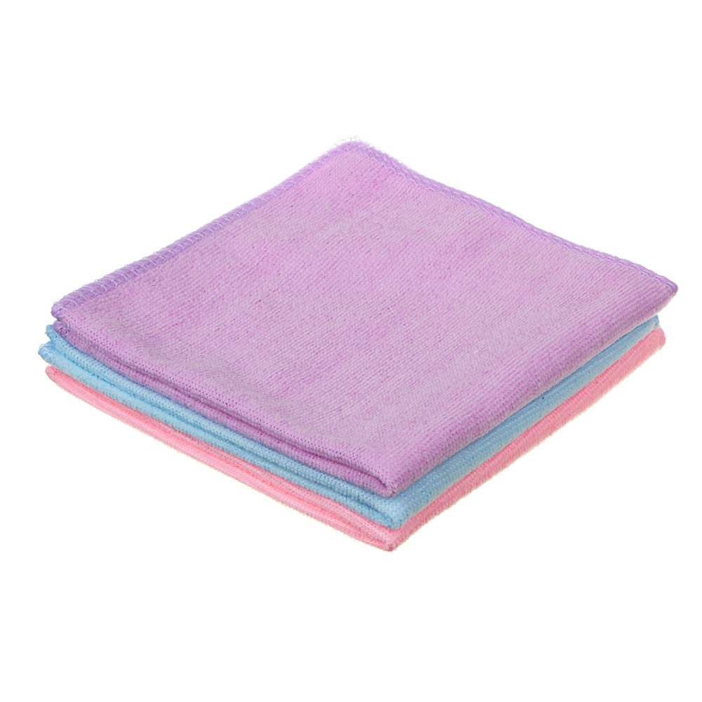 Набор салфеток универсальных из микрофибры 3 шт, 30x30 см, 3 цвета, VETTA