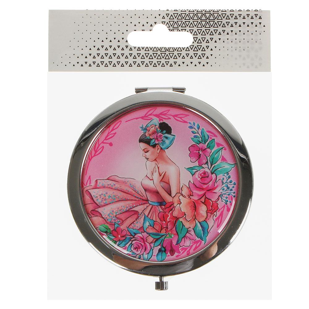 Карманное зеркало круглое, нержавеющая сталь, d. 7 см, 4 дизайна