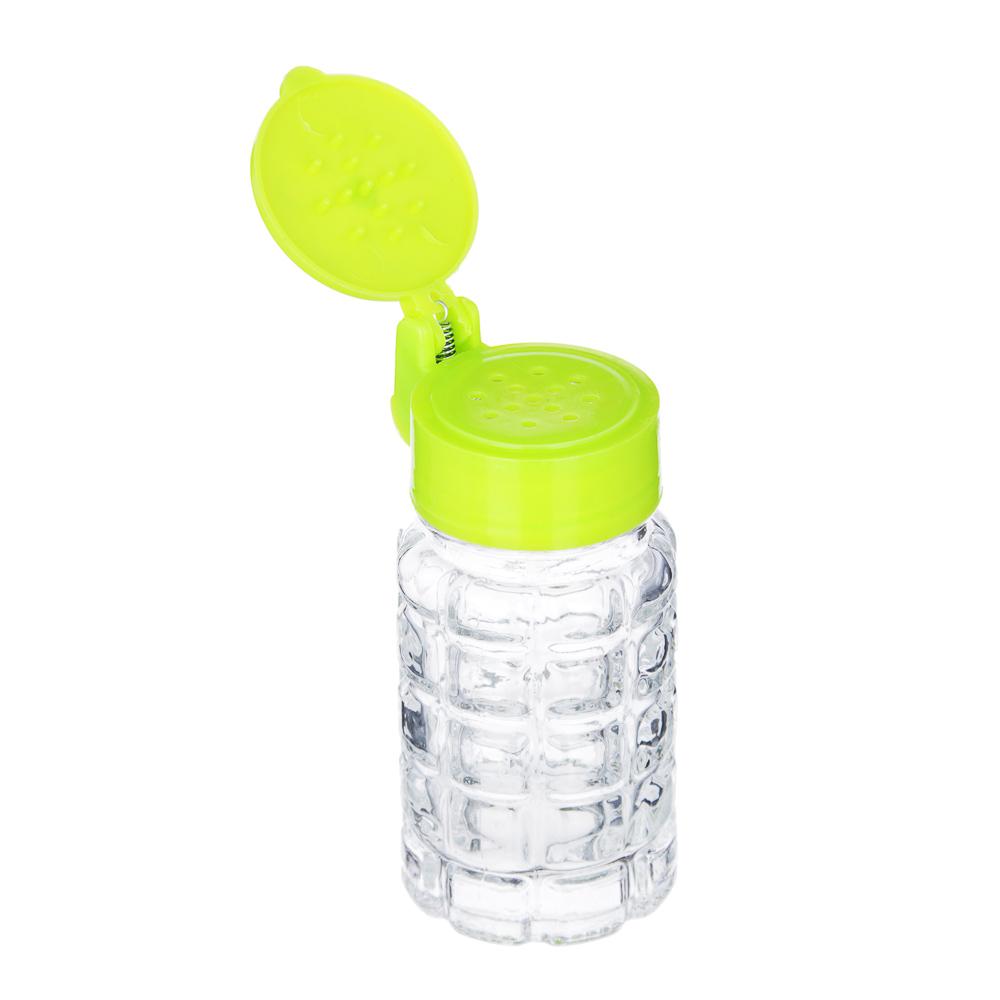 Солонка с крышкой, 8,5x4см, стекло, пластик, Цветок