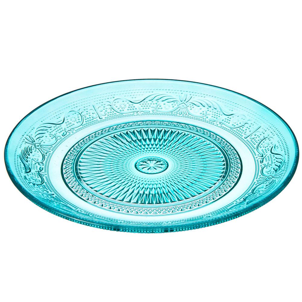 Марлин Тарелка десертная, 20см, стекло, синий
