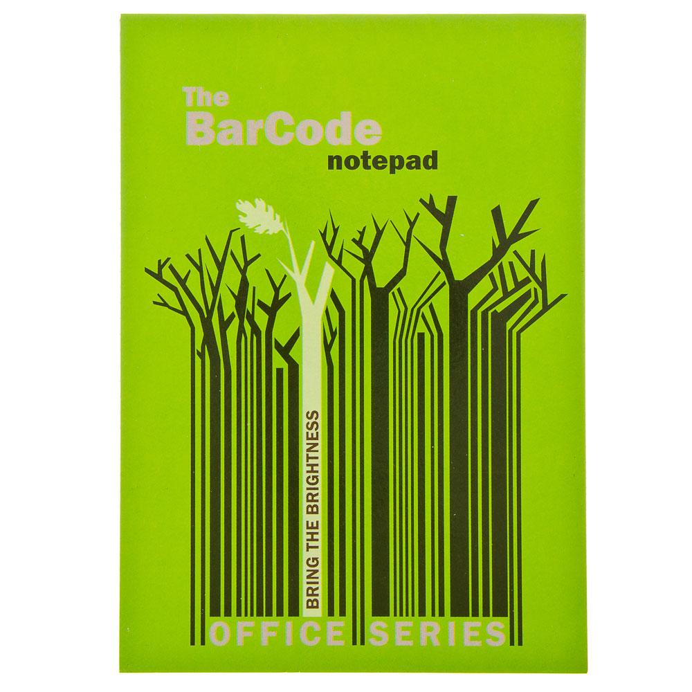 """Блокнот 50 л., Клей 14,8x21см, кл 6499/2-EAC полн УФ """"Штрих-код: деревья, синий/зеленый"""""""