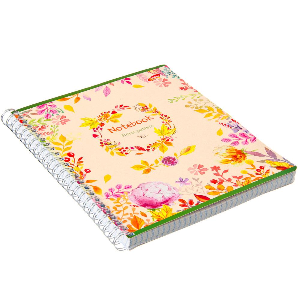 Тетрадь 96л Wсп А5 кл 7889/3-EAC полн УФ лак Floral Pattern (цветы и листья)