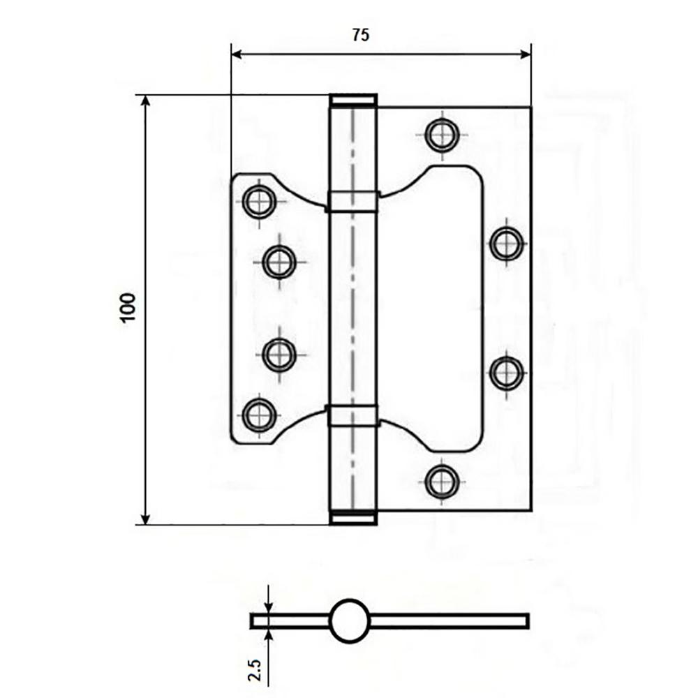 KORAL Петля накладная (БЕЗ ВРЕЗКИ) 4x3x2,5 ab бронза (100x75x2,5)