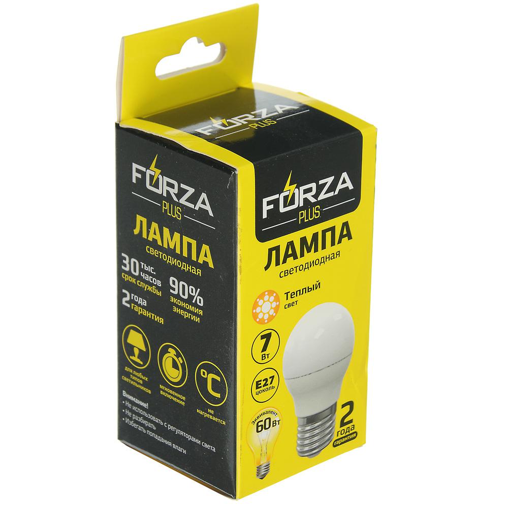 Лампа светодиодная FORZA G45, 7W, E27, 560lm, 3000К