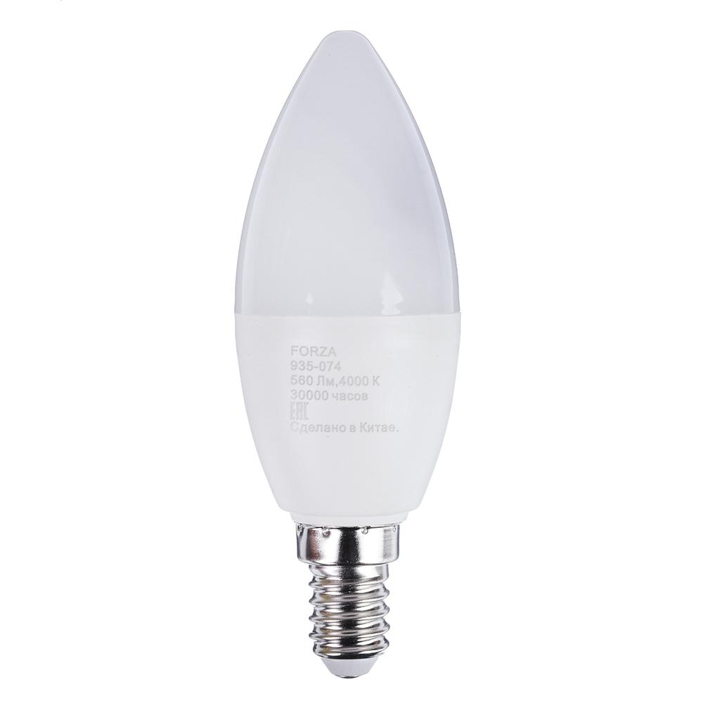 Лампа светодиодная свеча FORZA С37, 7W, E14, 560lm, 4000К